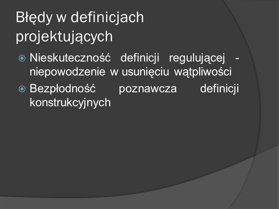 Błędy w definicjach projektujących