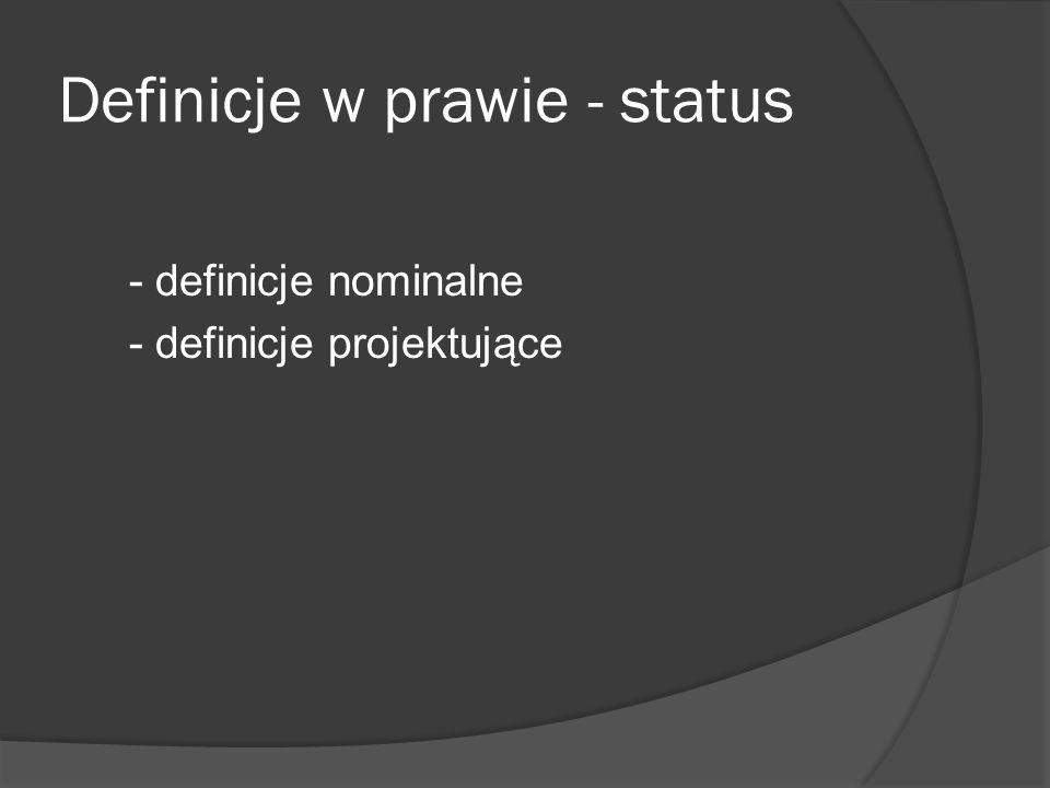 Definicje w prawie - status