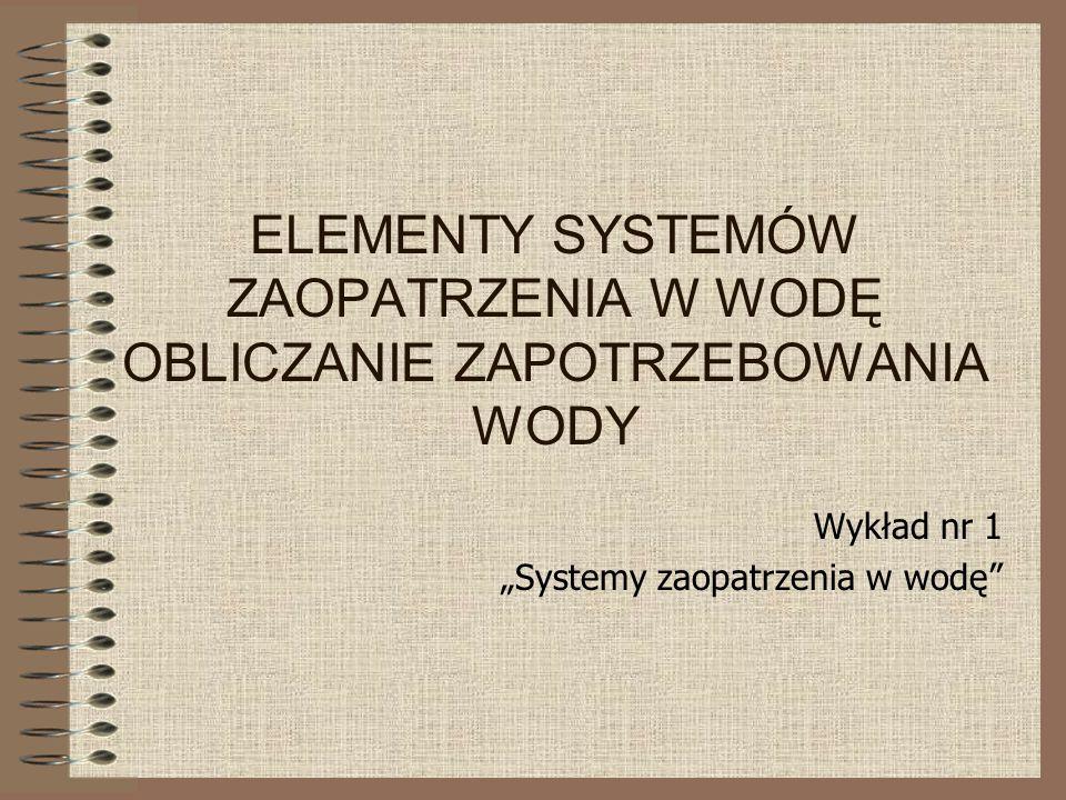 ELEMENTY SYSTEMÓW ZAOPATRZENIA W WODĘ OBLICZANIE ZAPOTRZEBOWANIA WODY