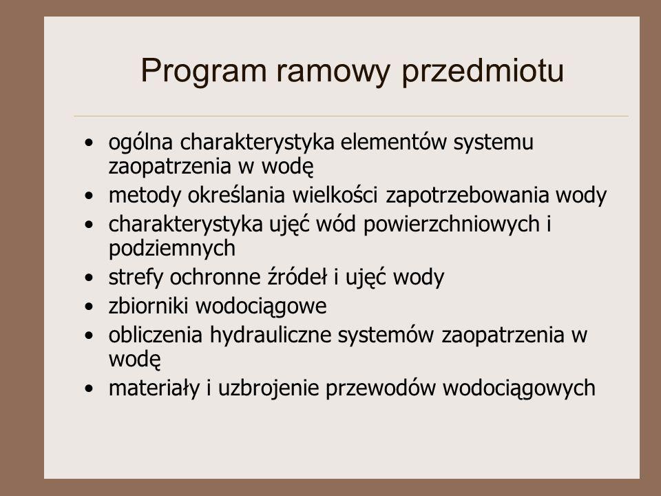 Program ramowy przedmiotu