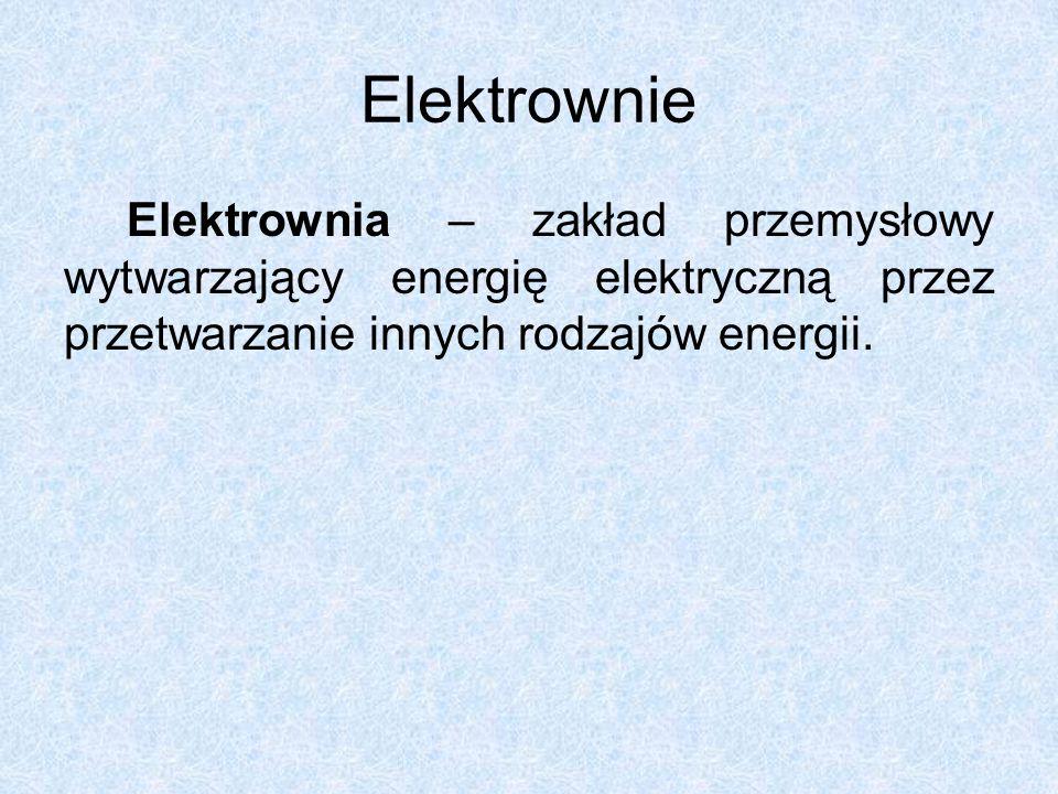 Elektrownie Elektrownia – zakład przemysłowy wytwarzający energię elektryczną przez przetwarzanie innych rodzajów energii.