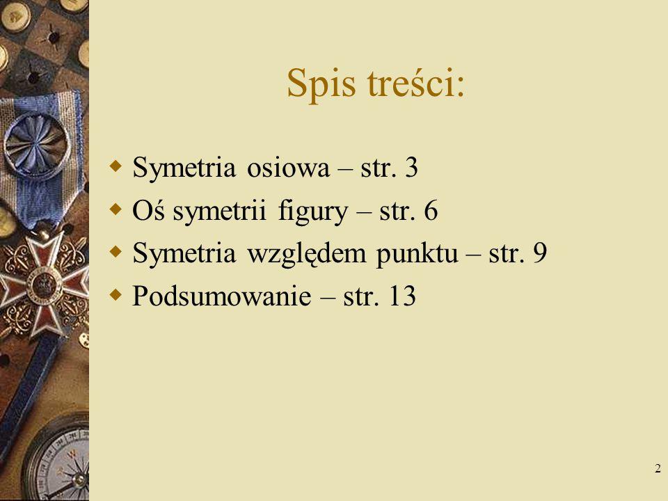 Spis treści: Symetria osiowa – str. 3 Oś symetrii figury – str. 6