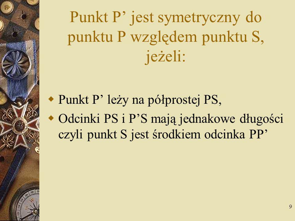 Punkt P' jest symetryczny do punktu P względem punktu S, jeżeli: