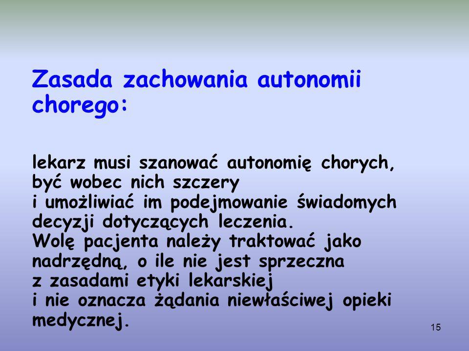 lekarz musi szanować autonomię chorych,