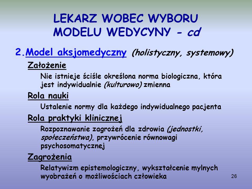 LEKARZ WOBEC WYBORU MODELU WEDYCYNY - cd