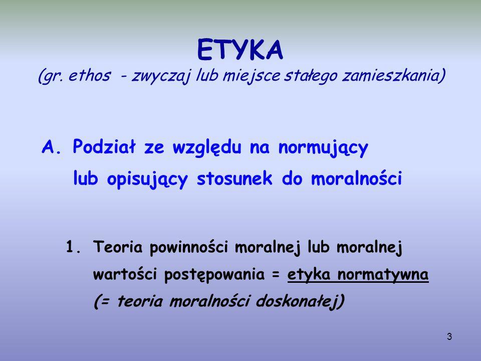 ETYKA (gr. ethos - zwyczaj lub miejsce stałego zamieszkania)