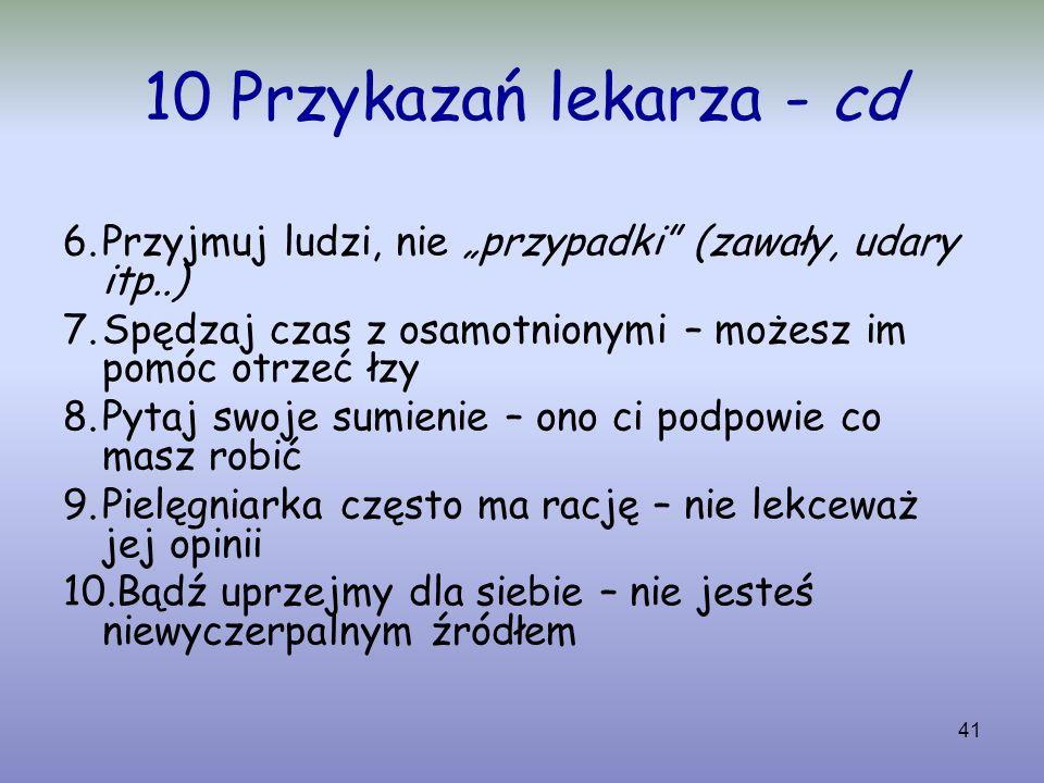 """10 Przykazań lekarza - cd Przyjmuj ludzi, nie """"przypadki (zawały, udary itp..) Spędzaj czas z osamotnionymi – możesz im pomóc otrzeć łzy."""