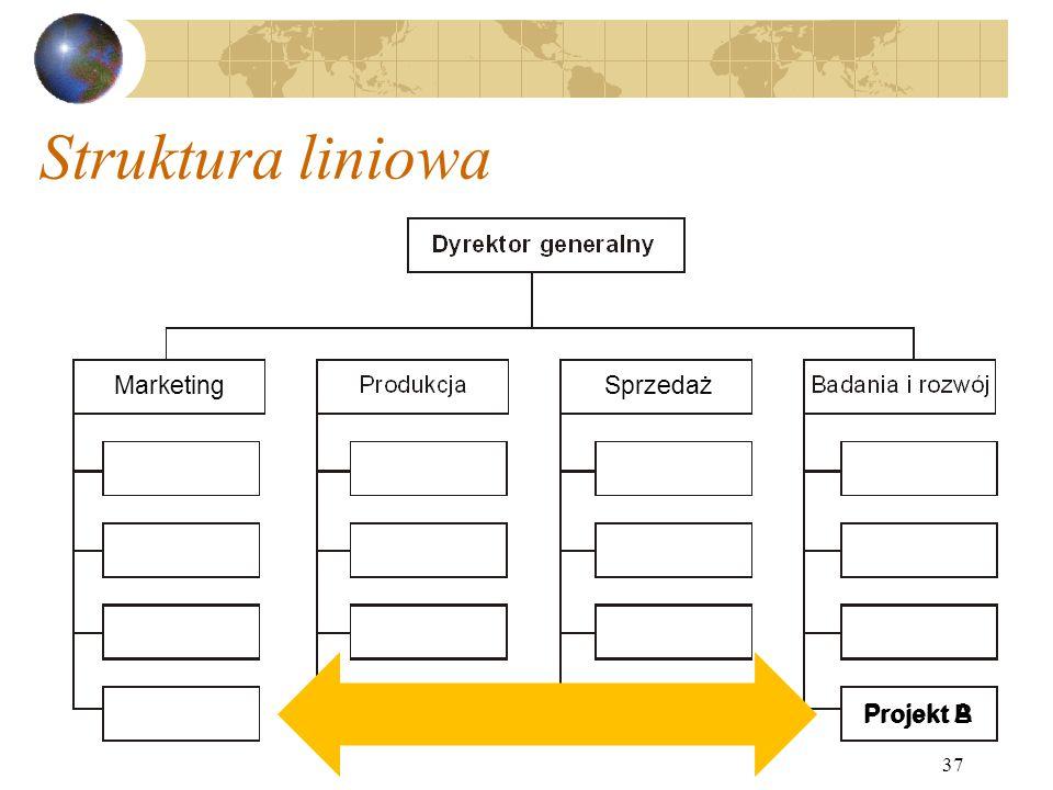 Struktura liniowa Marketing Sprzedaż Projekt B Projekt A