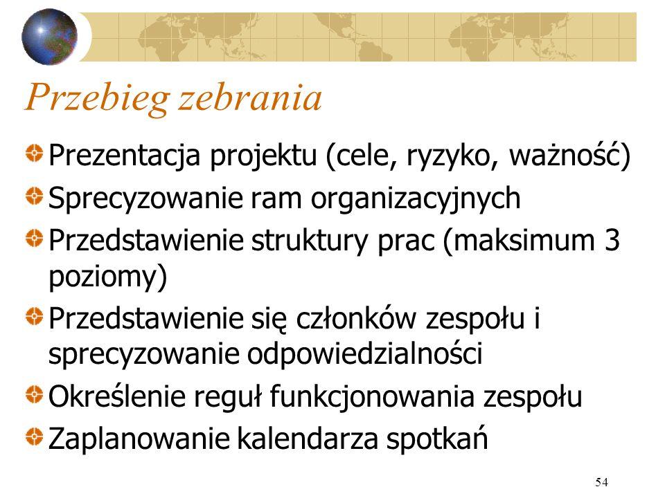 Przebieg zebrania Prezentacja projektu (cele, ryzyko, ważność)