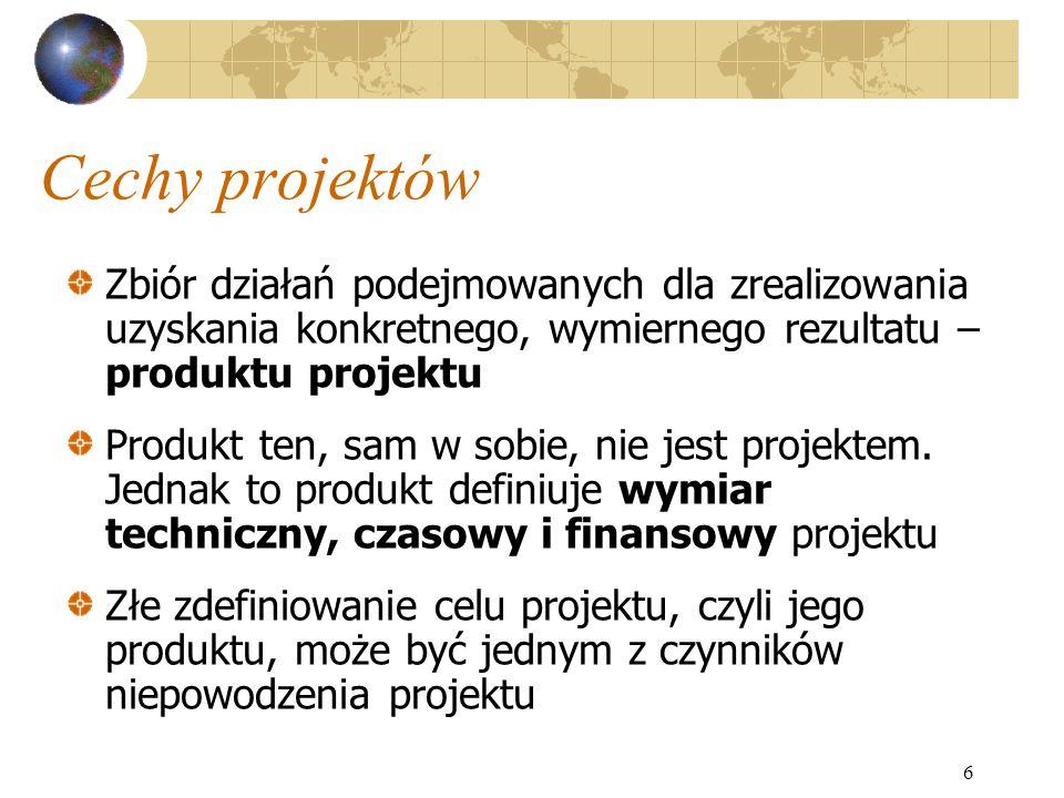 Cechy projektów Zbiór działań podejmowanych dla zrealizowania uzyskania konkretnego, wymiernego rezultatu – produktu projektu.