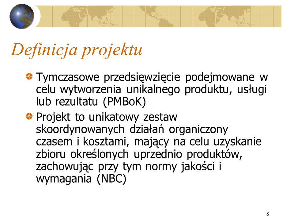 Definicja projektu Tymczasowe przedsięwzięcie podejmowane w celu wytworzenia unikalnego produktu, usługi lub rezultatu (PMBoK)