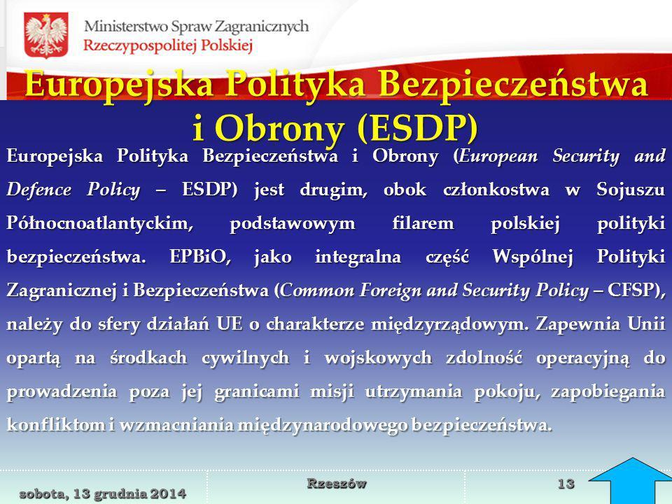 Europejska Polityka Bezpieczeństwa i Obrony (ESDP)