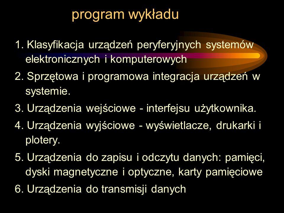 program wykładu 1. Klasyfikacja urządzeń peryferyjnych systemów elektronicznych i komputerowych.