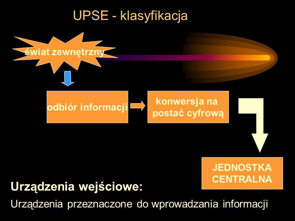 UPSE - klasyfikacja Urządzenia wejściowe: