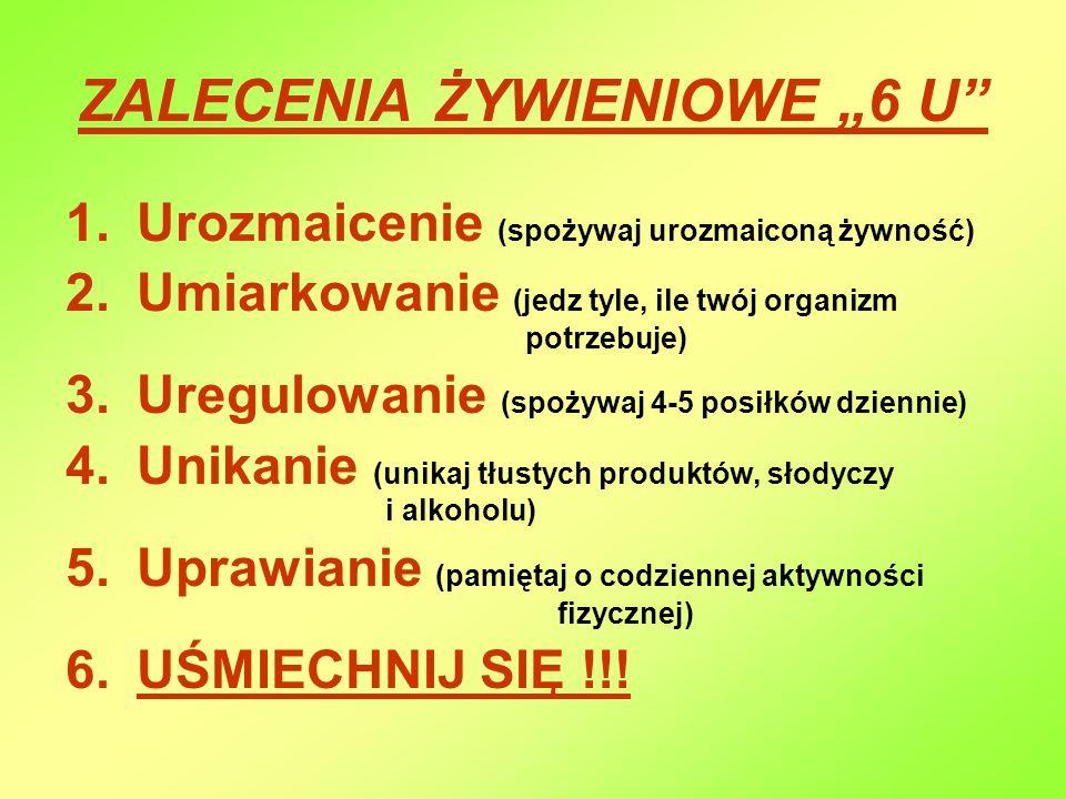 """ZALECENIA ŻYWIENIOWE """"6 U"""