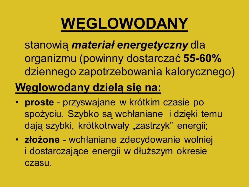 WĘGLOWODANY Węglowodany dzielą się na: