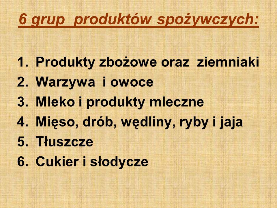 6 grup produktów spożywczych: