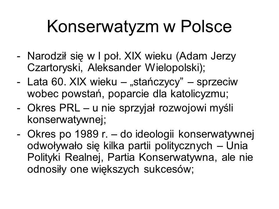 Konserwatyzm w Polsce Narodził się w I poł. XIX wieku (Adam Jerzy Czartoryski, Aleksander Wielopolski);