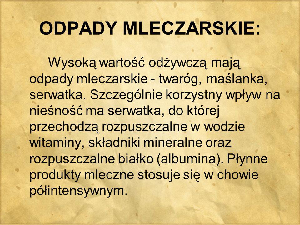 ODPADY MLECZARSKIE: