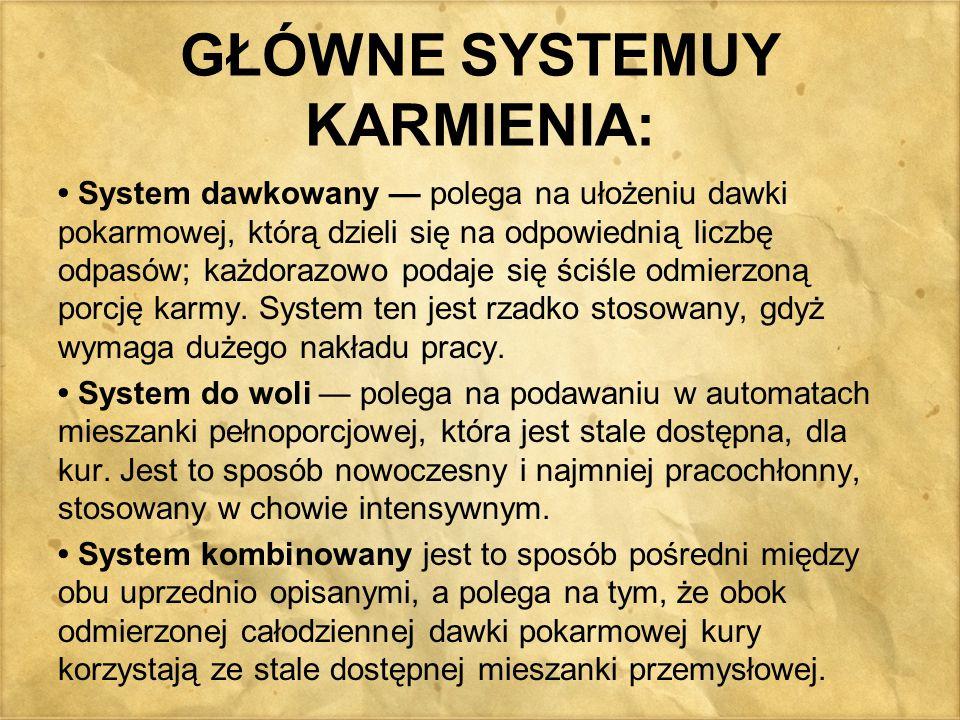 GŁÓWNE SYSTEMUY KARMIENIA: