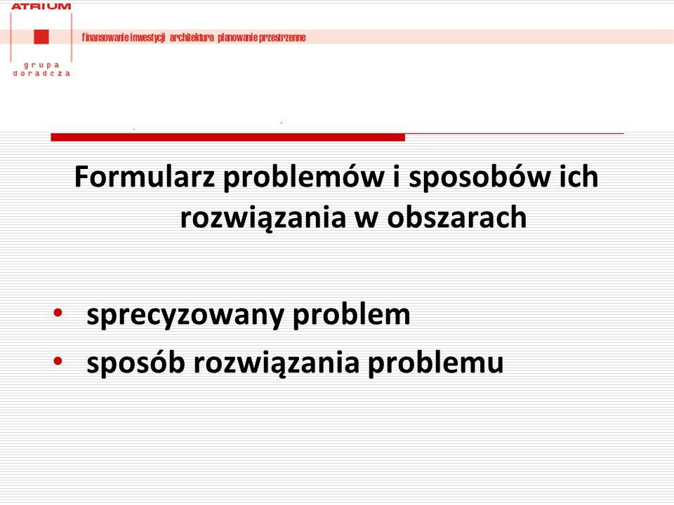 Formularz problemów i sposobów ich rozwiązania w obszarach