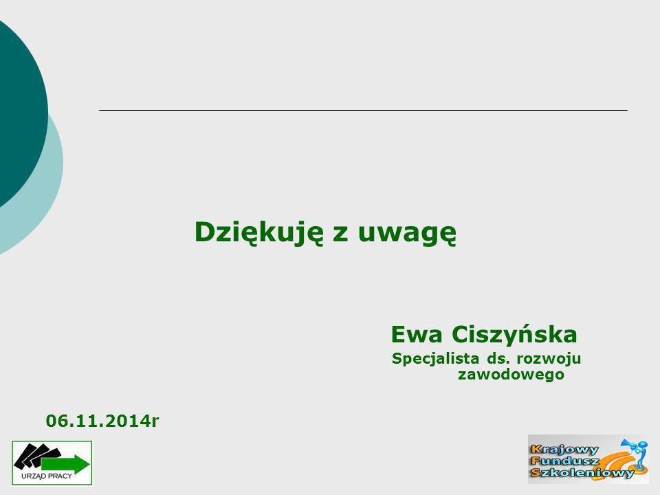 Dziękuję z uwagę Ewa Ciszyńska Specjalista ds. rozwoju zawodowego