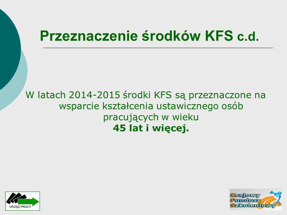 Przeznaczenie środków KFS c.d.