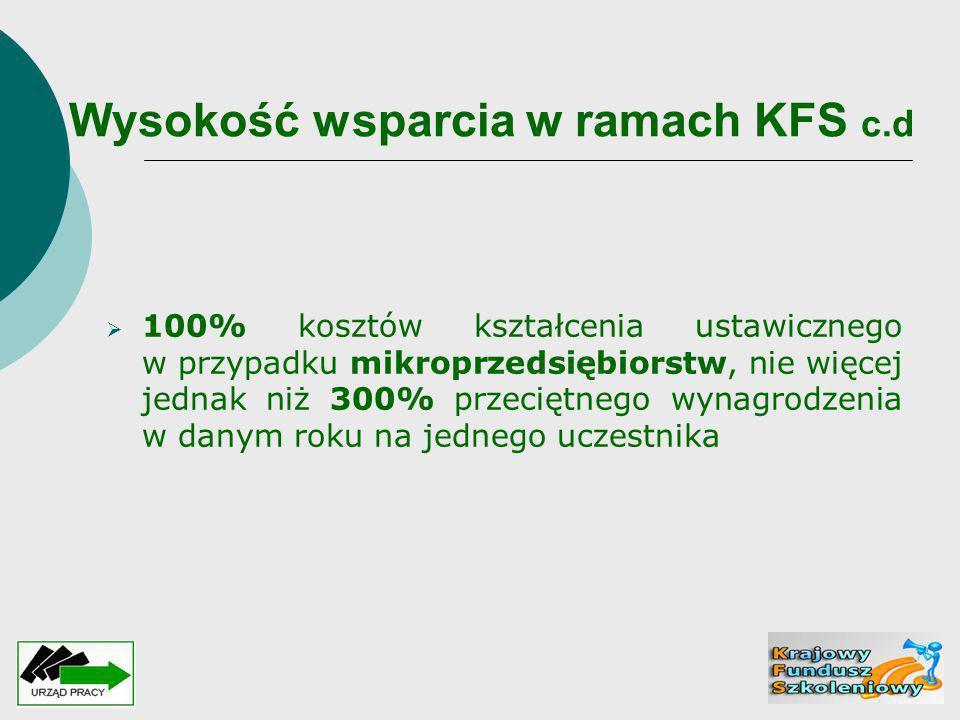 Wysokość wsparcia w ramach KFS c.d