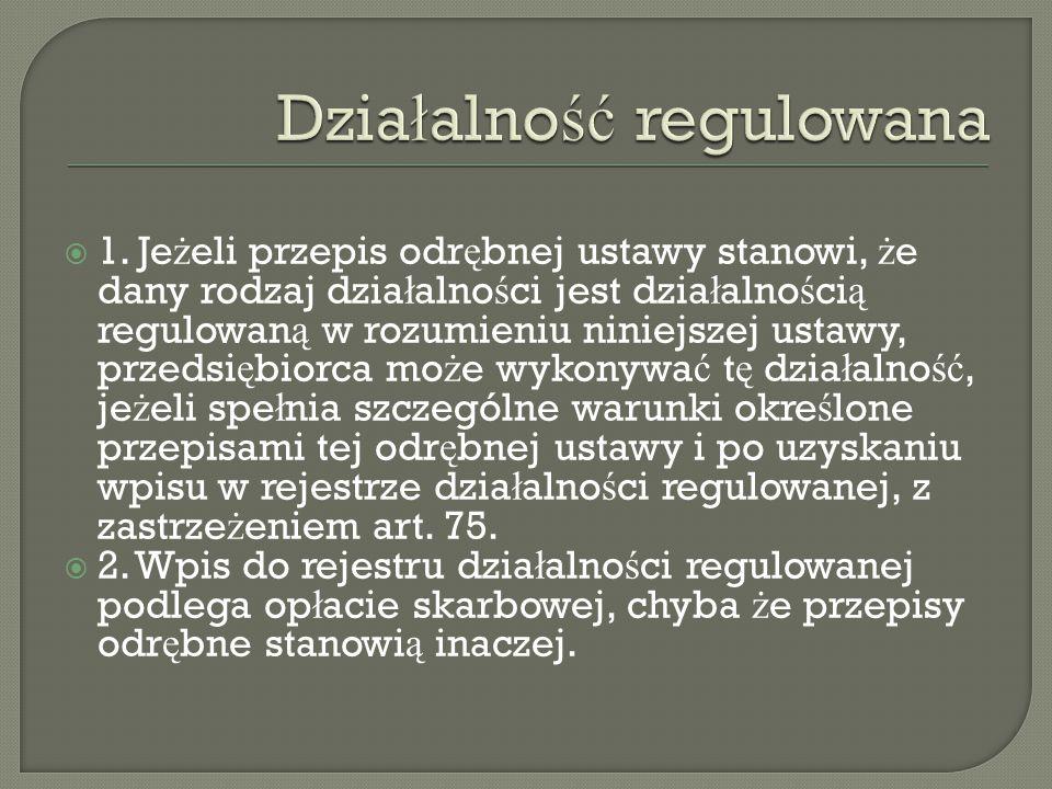 Działalność regulowana