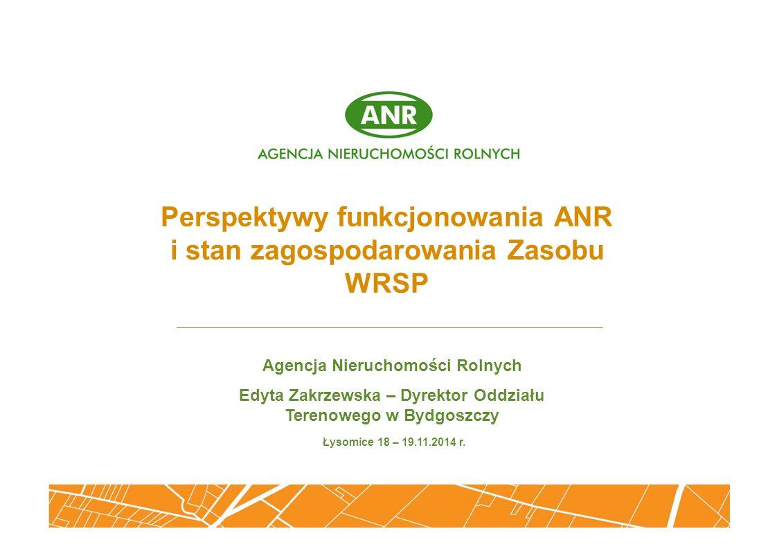 Perspektywy funkcjonowania ANR i stan zagospodarowania Zasobu WRSP
