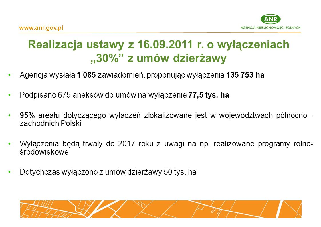 """www.anr.gov.pl Realizacja ustawy z 16.09.2011 r. o wyłączeniach """"30% z umów dzierżawy."""