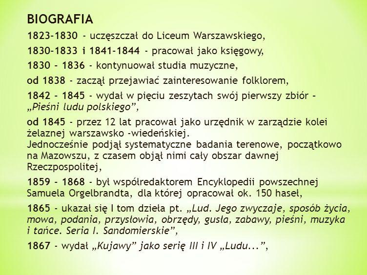 BIOGRAFIA 1823-1830 - uczęszczał do Liceum Warszawskiego,