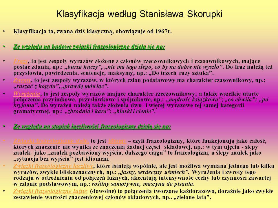 Klasyfikacja według Stanisława Skorupki