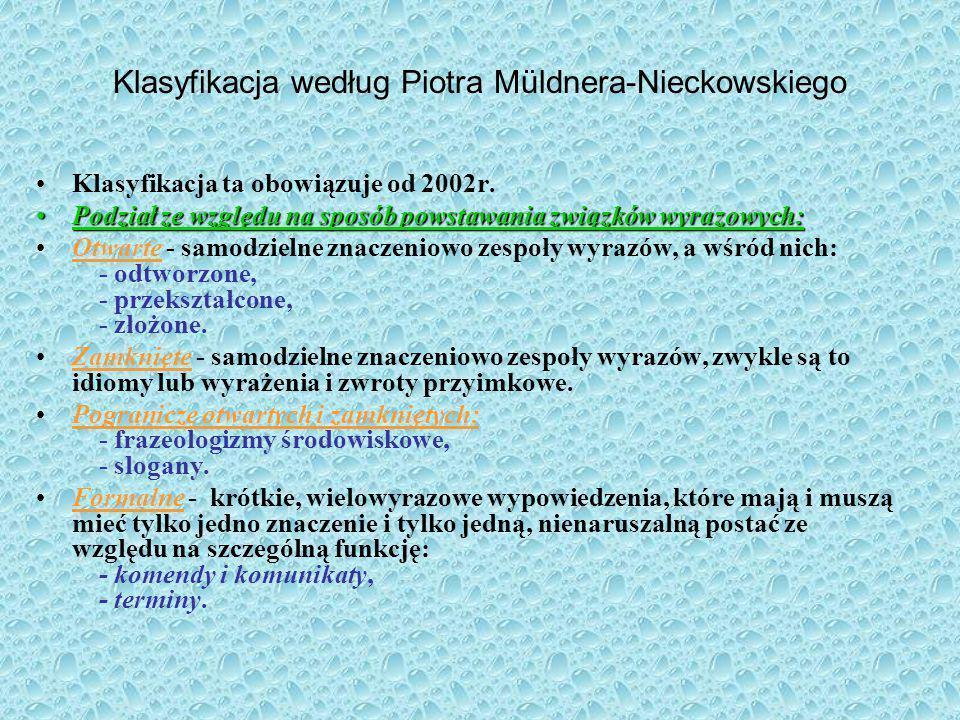 Klasyfikacja według Piotra Müldnera-Nieckowskiego
