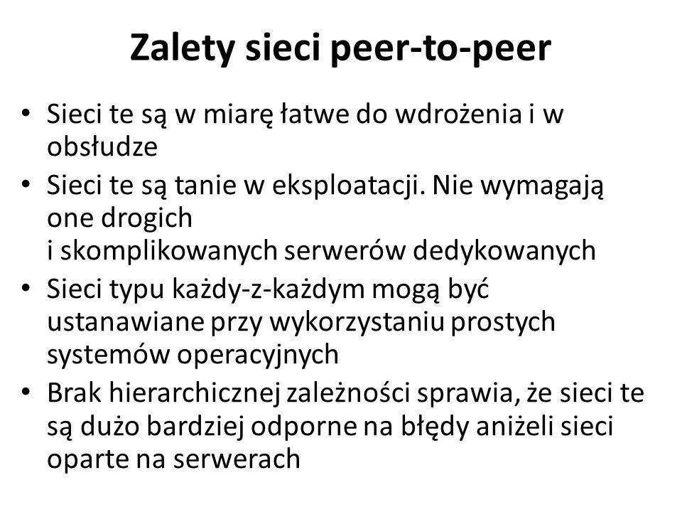 Zalety sieci peer-to-peer
