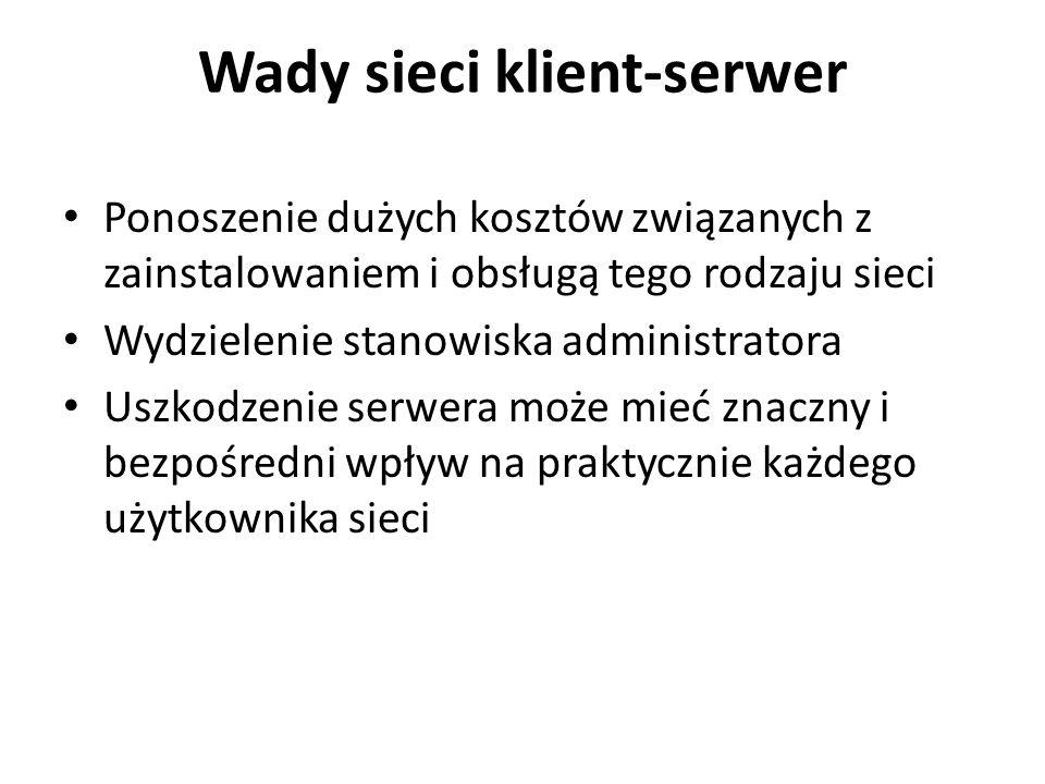 Wady sieci klient-serwer