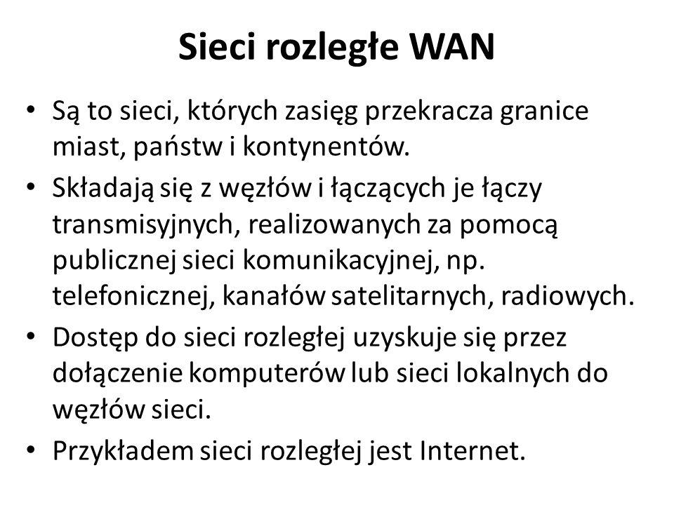 Sieci rozległe WAN Są to sieci, których zasięg przekracza granice miast, państw i kontynentów.