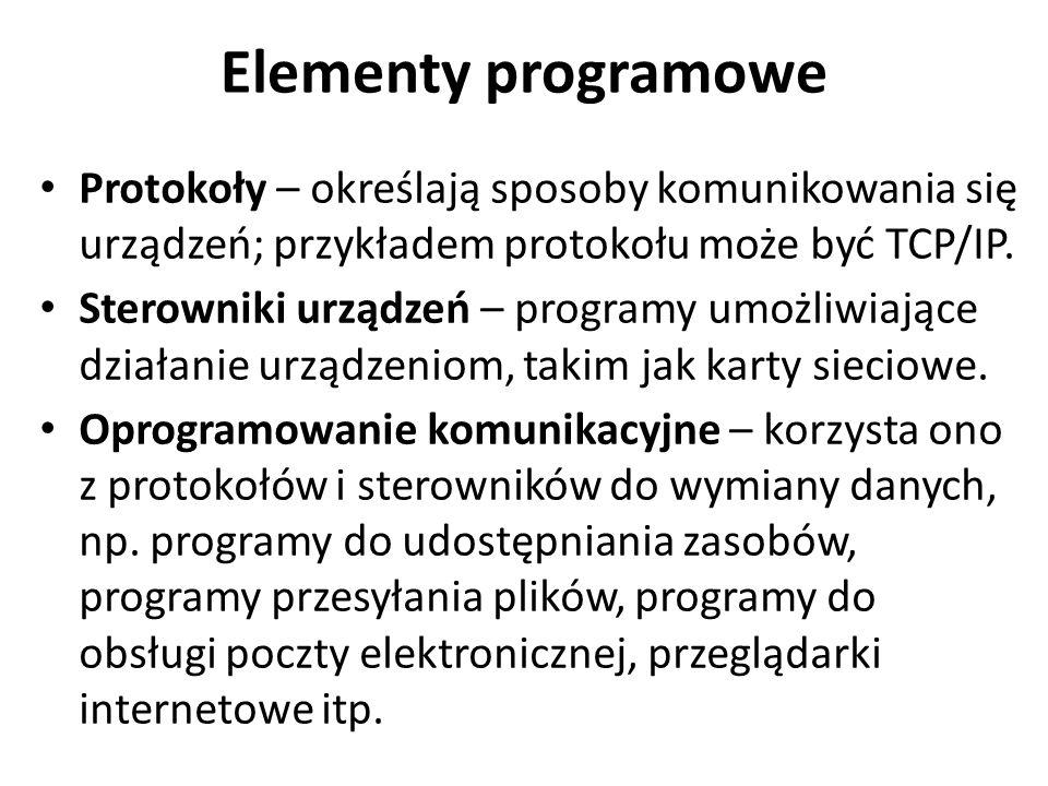Elementy programowe Protokoły – określają sposoby komunikowania się urządzeń; przykładem protokołu może być TCP/IP.