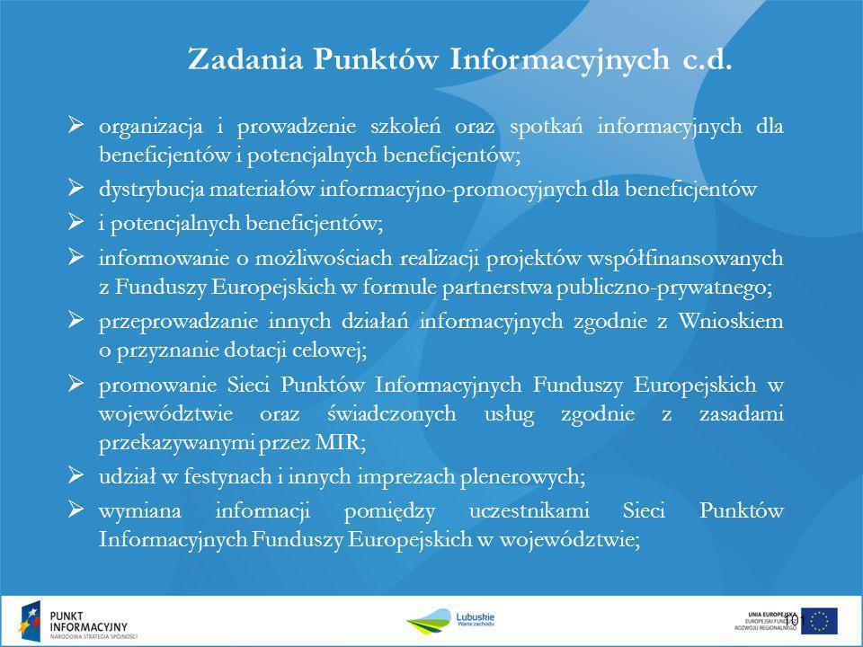 Zadania Punktów Informacyjnych c.d.