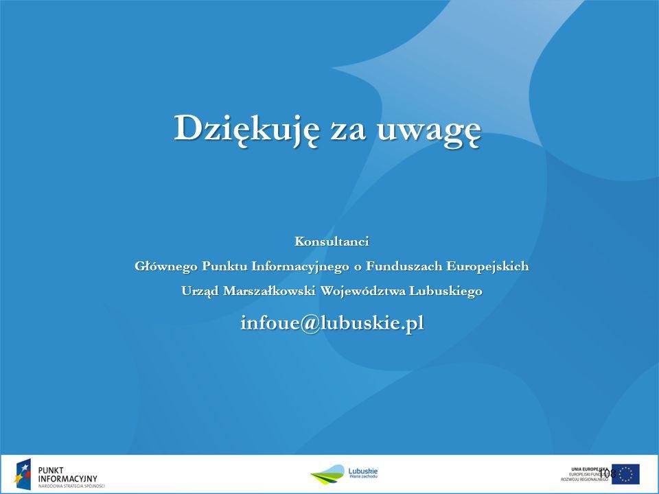 Dziękuję za uwagę infoue@lubuskie.pl Konsultanci