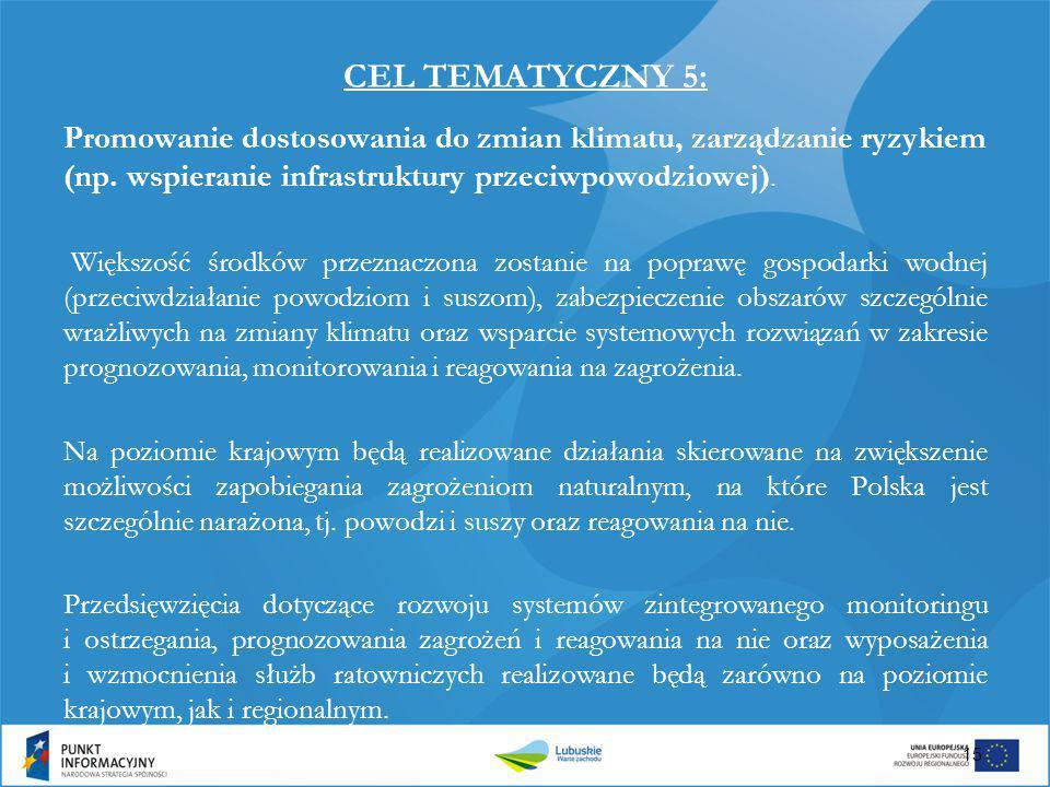 CEL TEMATYCZNY 5: Promowanie dostosowania do zmian klimatu, zarządzanie ryzykiem (np. wspieranie infrastruktury przeciwpowodziowej).