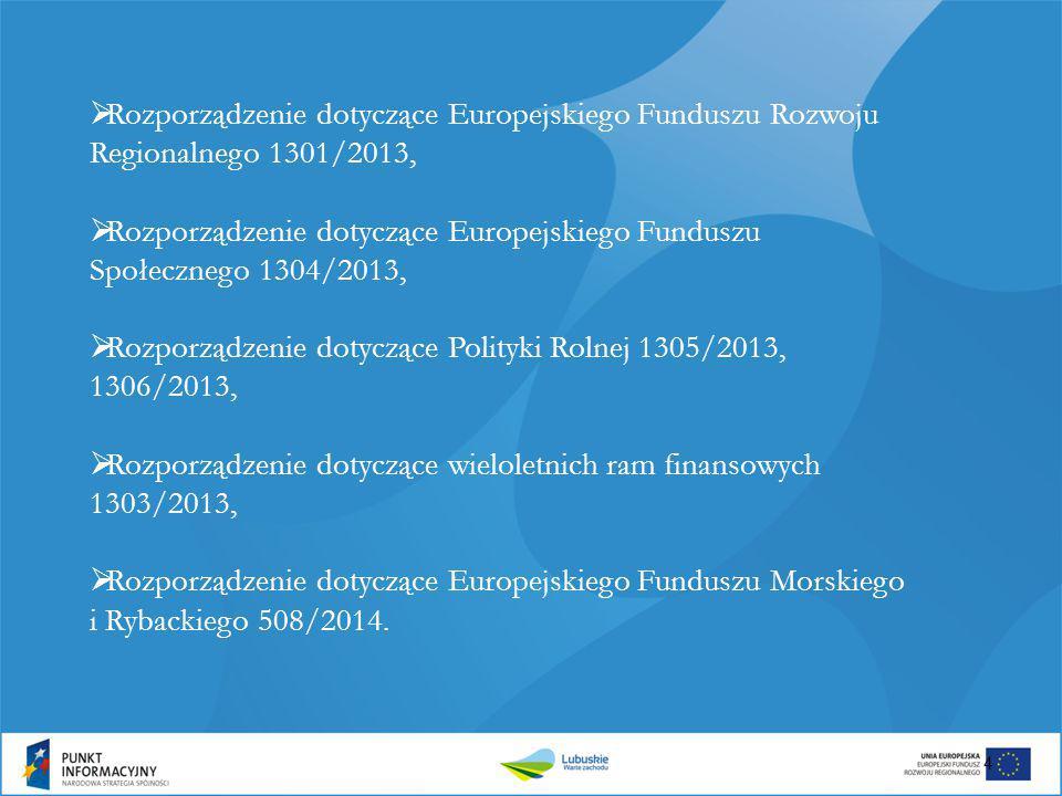 Rozporządzenie dotyczące Europejskiego Funduszu Rozwoju Regionalnego 1301/2013,