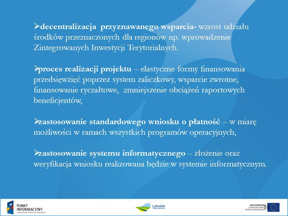 decentralizacja przyznawanego wsparcia- wzrost udziału środków przeznaczonych dla regionów np. wprowadzenie Zintegrowanych Inwestycji Terytorialnych.