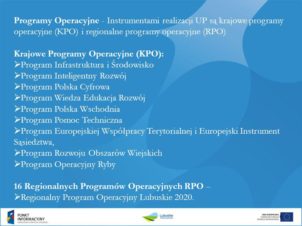 Programy Operacyjne - Instrumentami realizacji UP są krajowe programy operacyjne (KPO) i regionalne programy operacyjne (RPO)