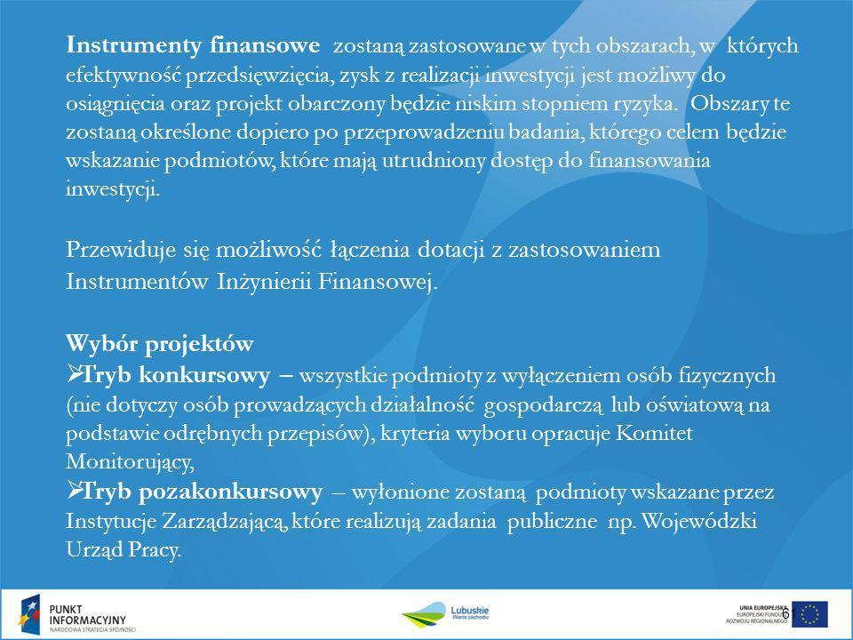 Instrumenty finansowe zostaną zastosowane w tych obszarach, w których efektywność przedsięwzięcia, zysk z realizacji inwestycji jest możliwy do osiągnięcia oraz projekt obarczony będzie niskim stopniem ryzyka. Obszary te zostaną określone dopiero po przeprowadzeniu badania, którego celem będzie wskazanie podmiotów, które mają utrudniony dostęp do finansowania inwestycji.
