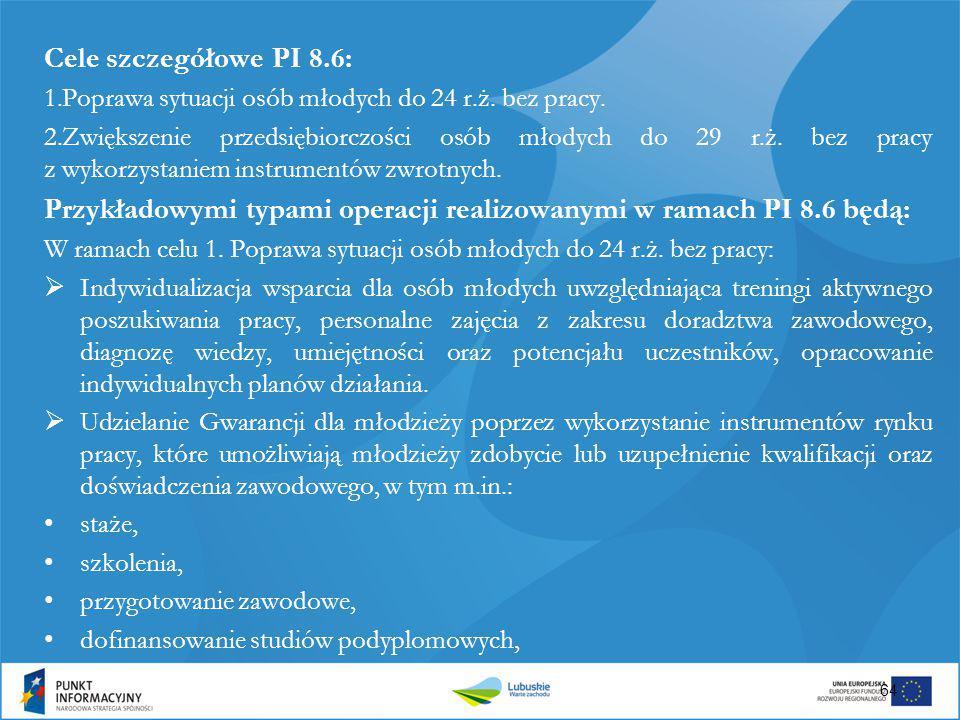 Przykładowymi typami operacji realizowanymi w ramach PI 8.6 będą: