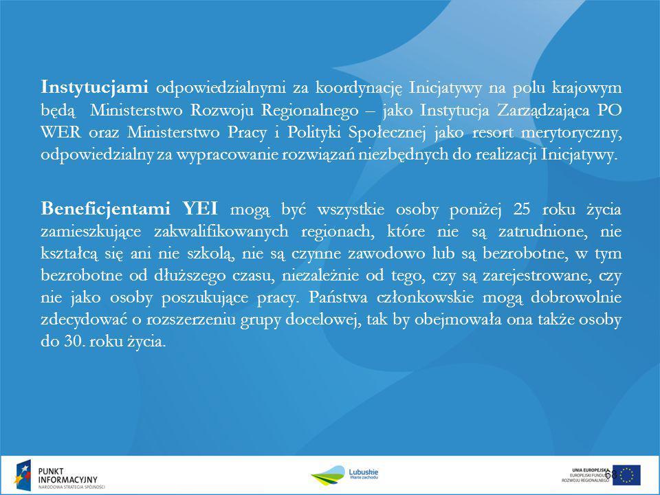 Instytucjami odpowiedzialnymi za koordynację Inicjatywy na polu krajowym będą Ministerstwo Rozwoju Regionalnego – jako Instytucja Zarządzająca PO WER oraz Ministerstwo Pracy i Polityki Społecznej jako resort merytoryczny, odpowiedzialny za wypracowanie rozwiązań niezbędnych do realizacji Inicjatywy.