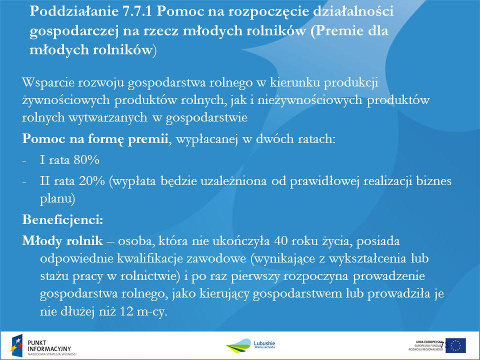 Poddziałanie 7.7.1 Pomoc na rozpoczęcie działalności gospodarczej na rzecz młodych rolników (Premie dla młodych rolników)
