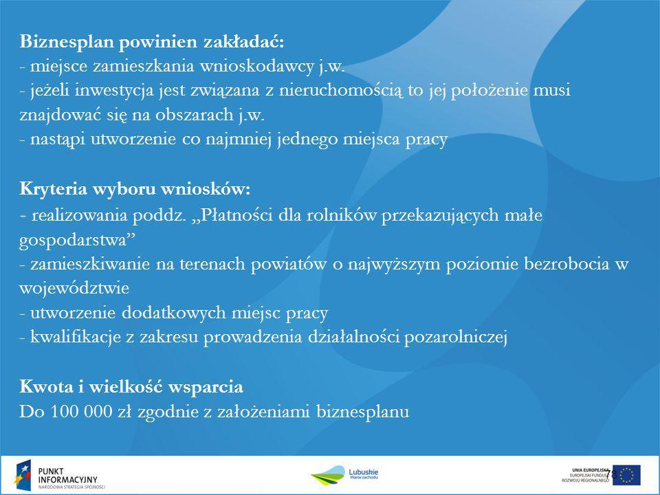 Biznesplan powinien zakładać: - miejsce zamieszkania wnioskodawcy j. w