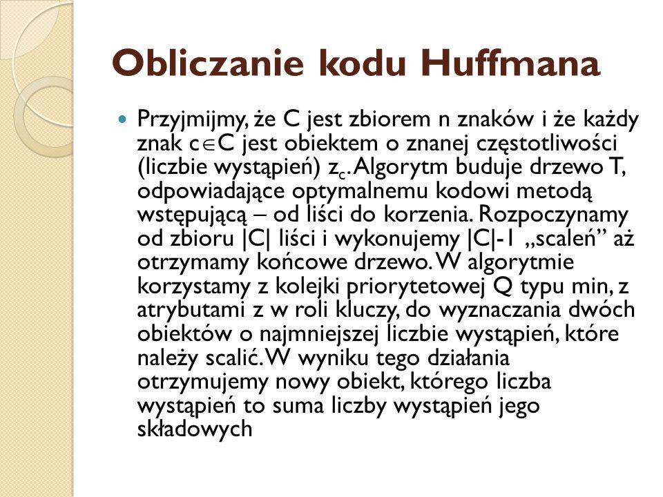 Obliczanie kodu Huffmana